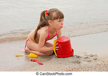 sand, m�dchen, spielende