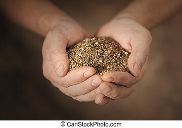 Man holding coarse sand in his cupped hands.