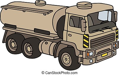 Sand military tank truck - Hand drawing of a sand military...