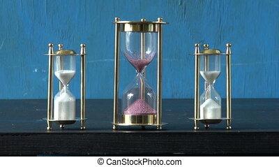sand motion in three sandglass