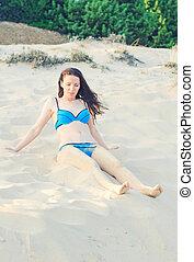 sand., mulher, praia, bonito, sentando