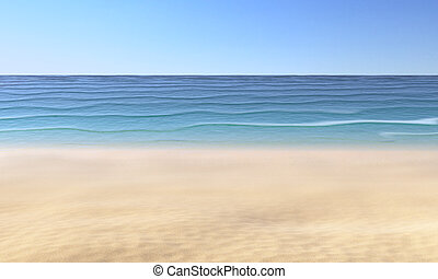 Sand on sandy beach, blue sky and sea with waves
