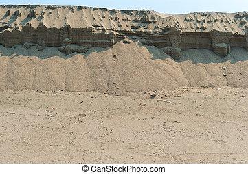 sand on the slope, sandy cliff, sandy beach