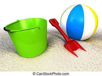 Sand Pail showel and ballon on the beach - 3d rendered image...