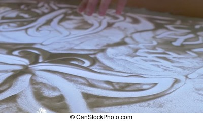 Sand painting. Abstract hand made background. Sand...