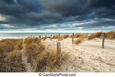 sand path on the dune to North sea