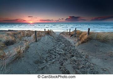 sand path to beach on North sea at sunset