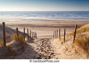 sand path to North sea at sunset, Netherlands