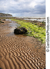 Sand patterns on Robin Hoods Bay beach, North Yorkshire