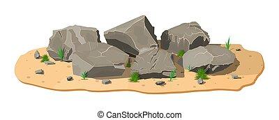 sand., pierre, herbe, tas, rocher