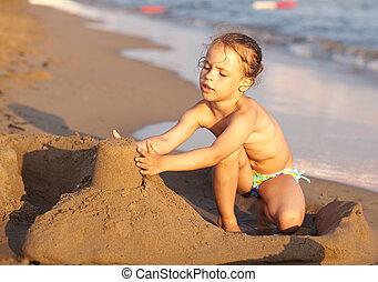 sand., plage, jouer, enfant