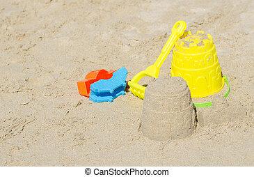 sand., praia, crianças, brinquedos