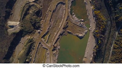 Sand quarry Aerial - Sand pit, top view with drone.