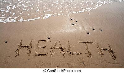sand, skrift, -, hälsa