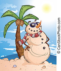 A snowman made of sand on a tropical beach, soaking up the sun and catching some rays
