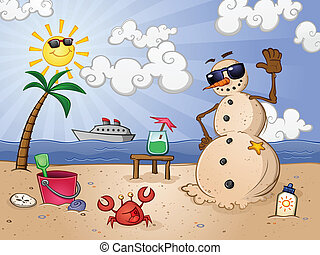Sand Snowman Cartoon Character - A snowman made of sand on a...