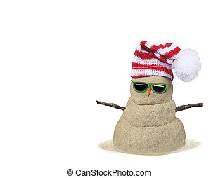 sand snowman with hat on white