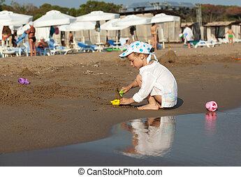sand., spiaggia, gioco, bambino