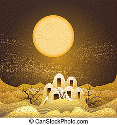 Illustration with lost farm in the desert during night sandstorm drawn in cartoon style