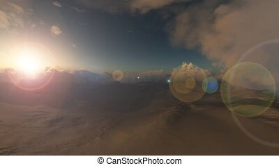 sand storm in desert at sunset