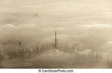 Sand storm in Dubai - Dramatic sand storm in Dubai, UAE,...