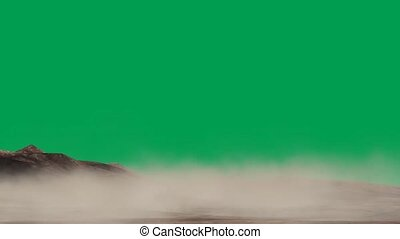 sand storm in the desert on green screen