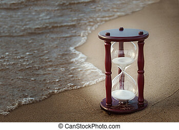 sand timer on beach - Hourglass on beach with vignette...