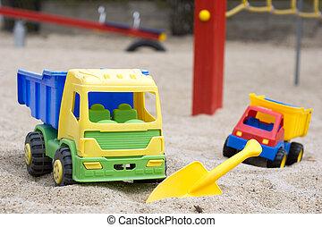 Sand Toys - Sand toys in a sandbox