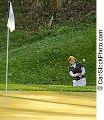 Sand trap golf shot