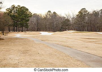 Sand Traps in Winter Golf Course - Sand traps beyond fairway...
