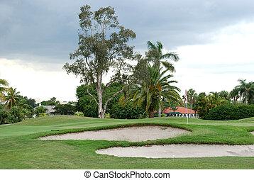 Sand traps near a golf hole, Miami, Florida