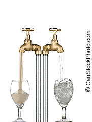 2 taps with water coming out of one and sand the other. Conceptual image for water conservation / drought etc.