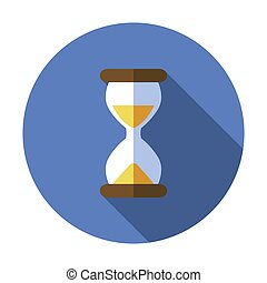 Sand watch flat icon. Hourglass vector. Time symbol. Glass clock timer illustration design. Abstract concept hour, minute symbol object isolated sign. Traditional simple sandglass, old vintage