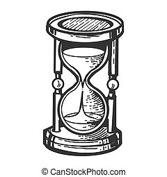 Sand watch glass engraving vector illustration. Scratch...