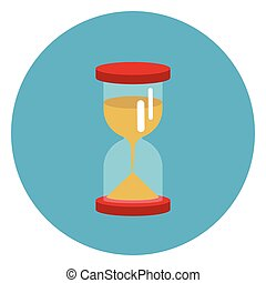 Sand Watch Icon Web Button On Round Blue Background