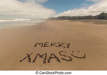 sand, weihnachten, fröhlich, handgeschrieben
