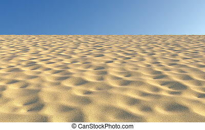 Sand with bumps and fossas under blue sky