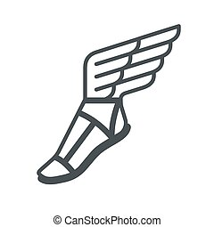 Ancient Greek sandal with wings. Vector line icon.