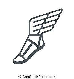 sandale, ailes, icône