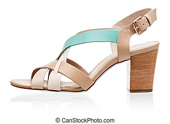 sandale, sur, isolé, élevé, blanc, talon