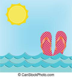 sandales, chiquenaude, vagues océan, opérations virgule flottante, ou