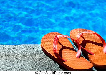 sandales, piscine
