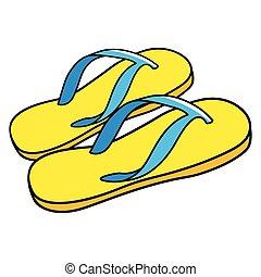 sandali, cartone animato, illustrazione