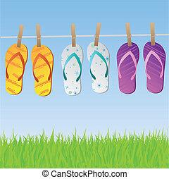 sandalias, clothesline