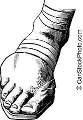 sandalias, de, jesús, y, el suyo, apóstoles, vendimia, engraving.