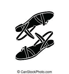 sandalias, ilustración, vector