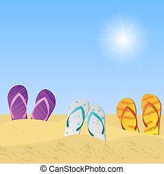 sandalias, playa