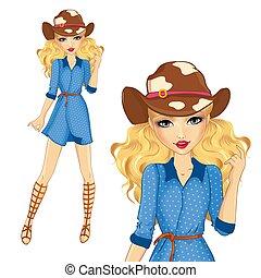 sandalias, vaquero, niña, sombrero
