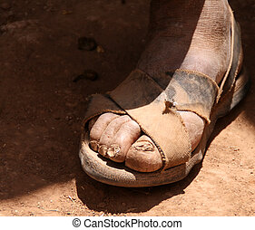 sandalled feet in the andes of south america, peru