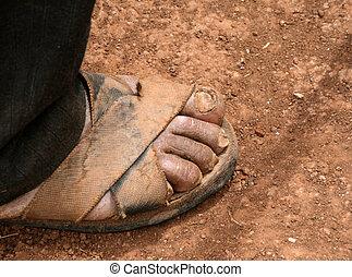 sandalled feet
